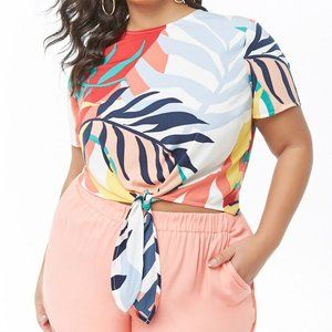 Forever 21 Tropical Print Tie Front Top Plus 3X